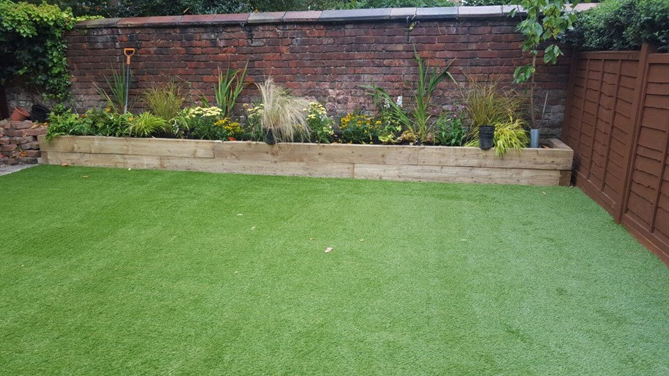 the new artificial lawn finished