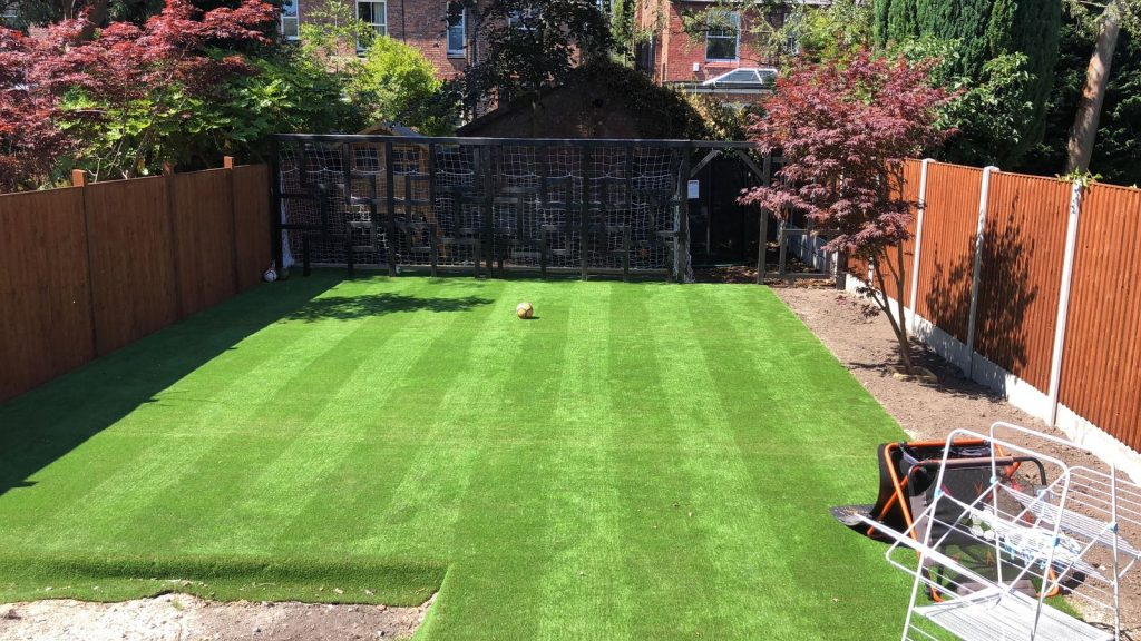 artificial lawn laid ready for use